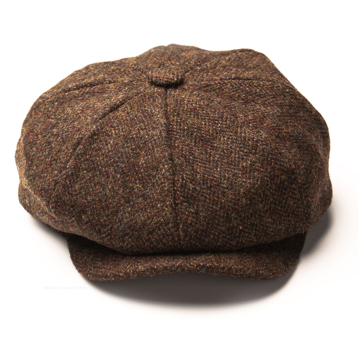 Eight Segment Baggy Button Cap in finest Harris Tweed