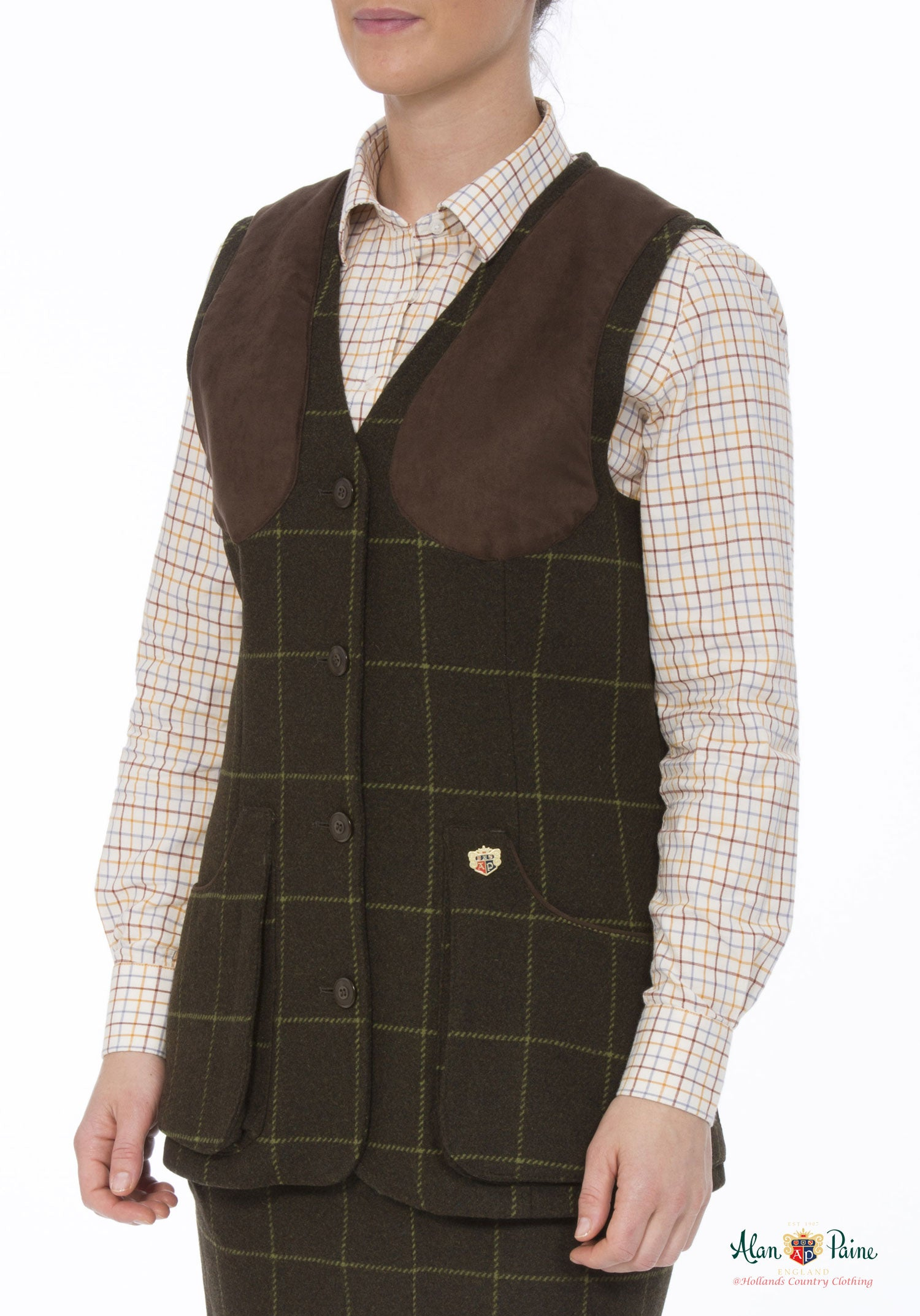 woman wearing Alan Paine Ladies Tweed Shooting Waistcoat | Avocado