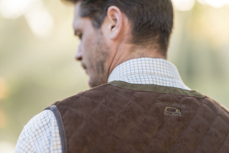 Brown Leather effect Alcantara Quilted Shoulder Pads