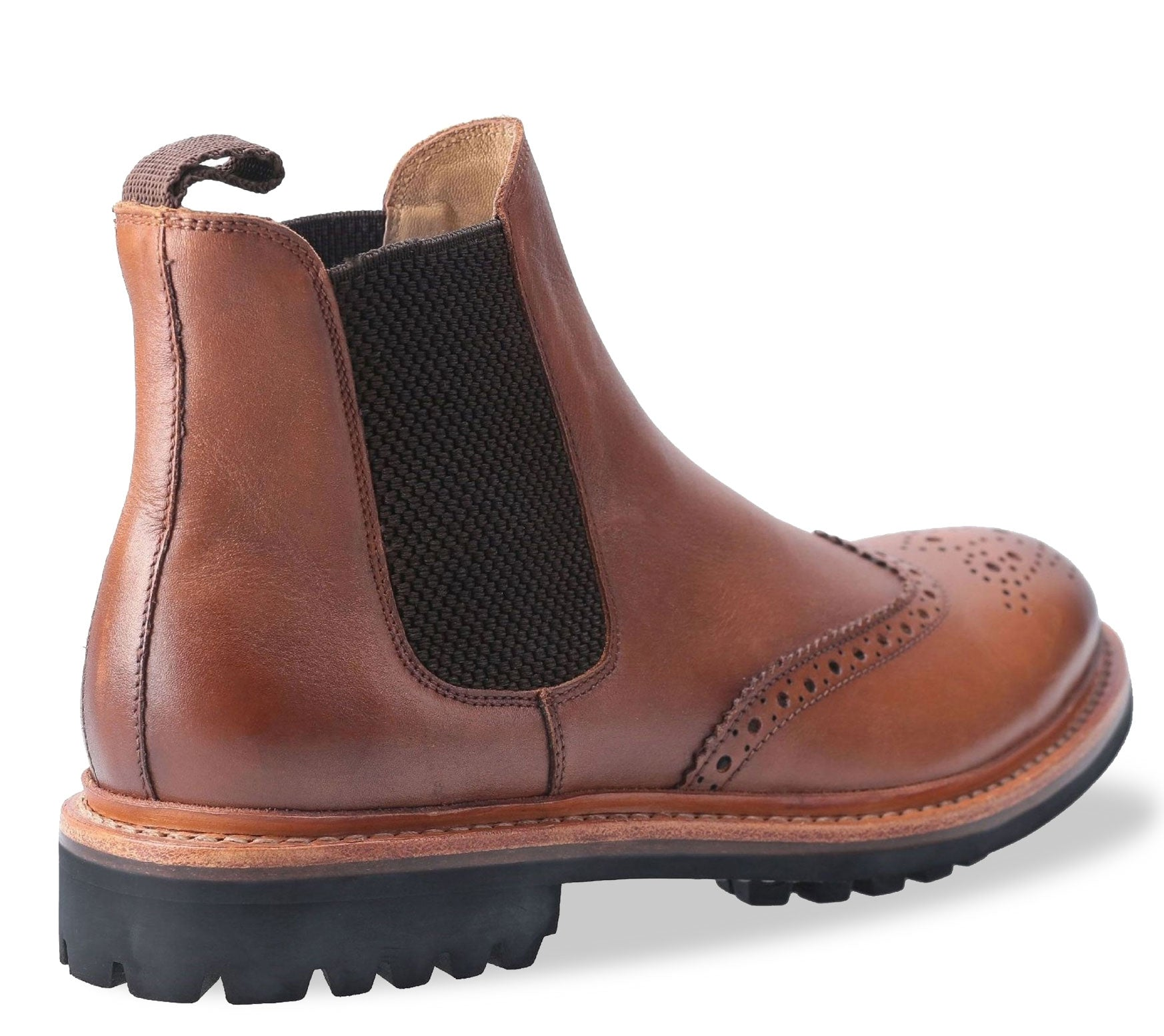 Elastic gusset Cotswold Leather Goodyear Welt Commando Sole Brogue Market Boot