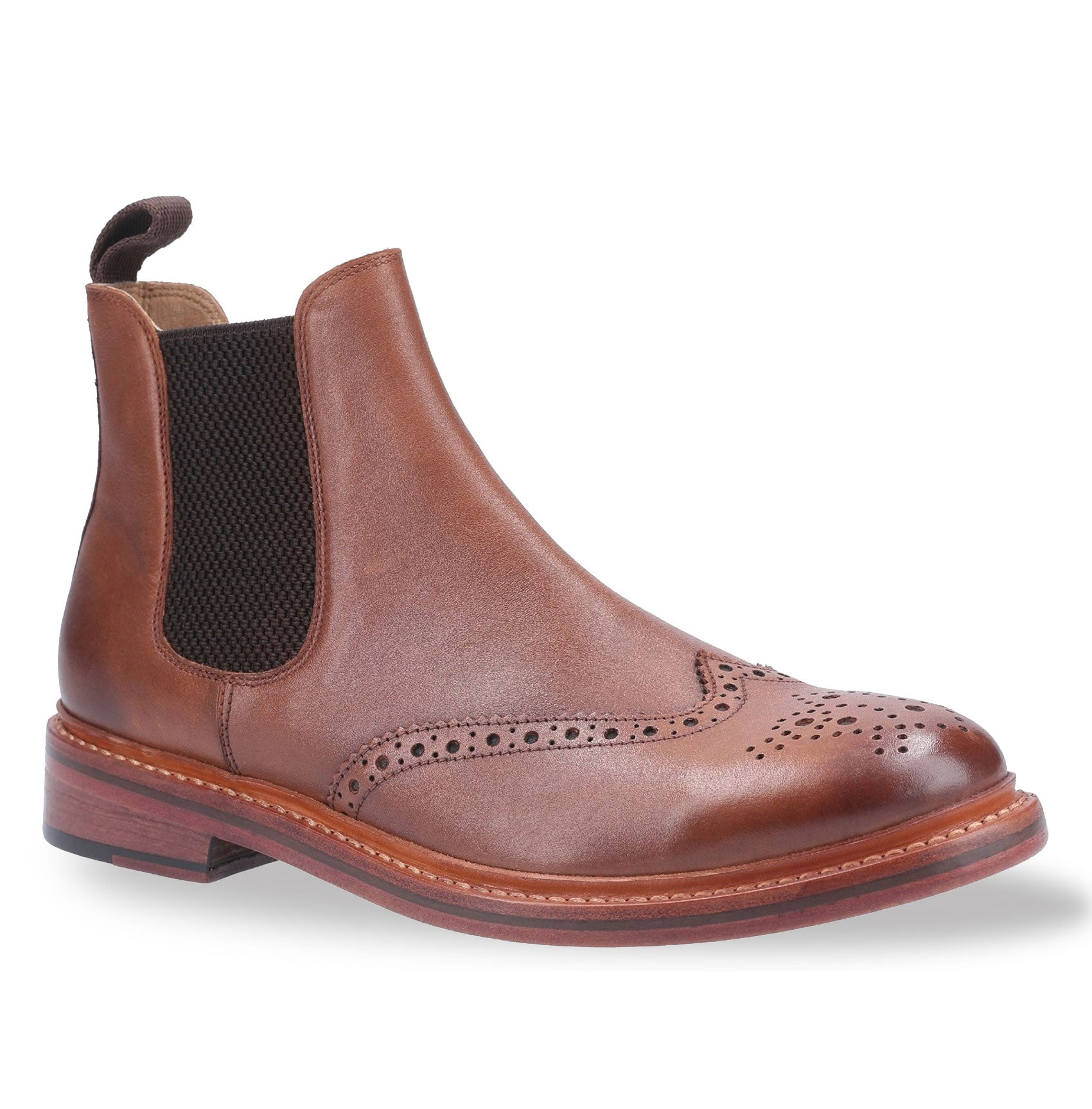 Brown Tan Cotswold Siddington Leather Brogue Chelsea Boot