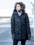 worn in a snow storm Didriksons Silje Padded Waterproof Parka
