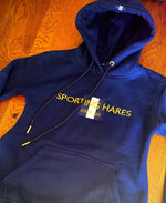 Sporting hares Navy hoodie with Gold letttering