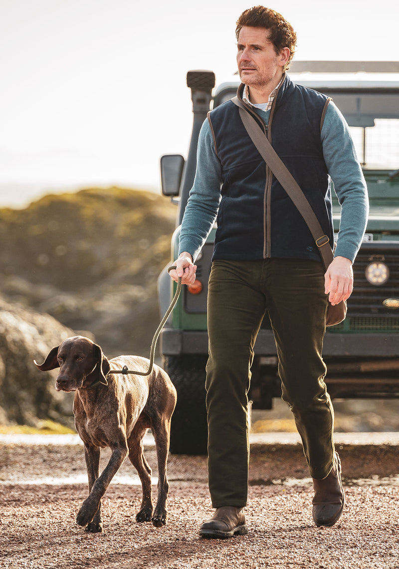 Fleece gilet with dog and land rover