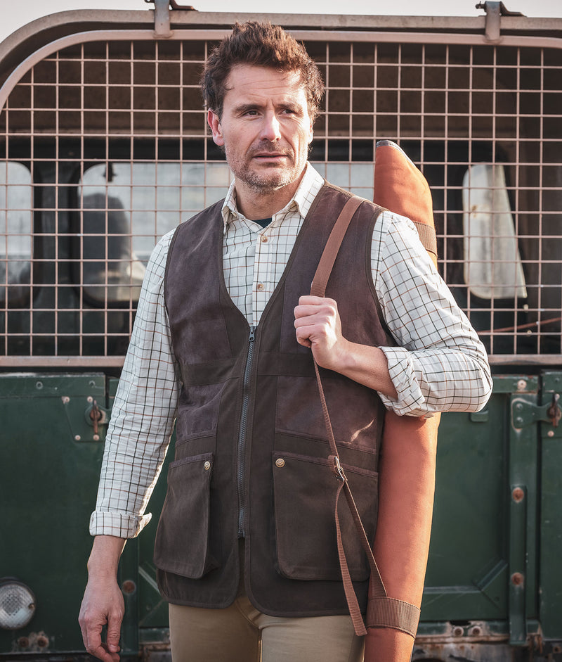 Man wears the Hoggs Struther Shooting gilet bodywarmer