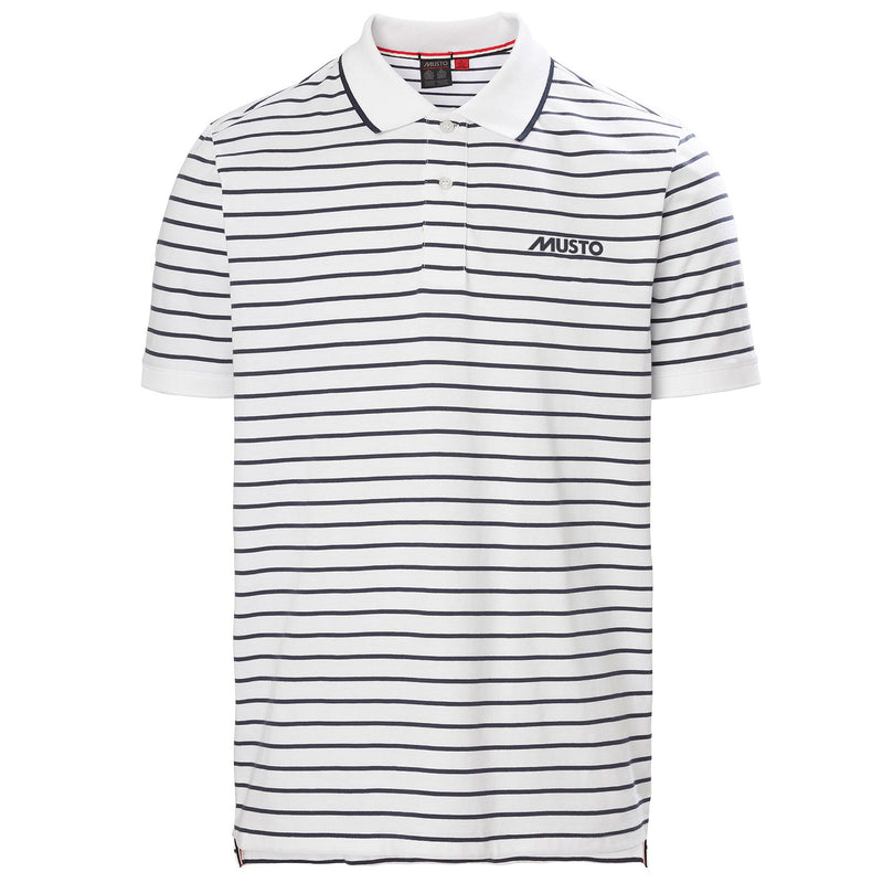 White True Navy Musto Rhine Stripe Polo Shirt