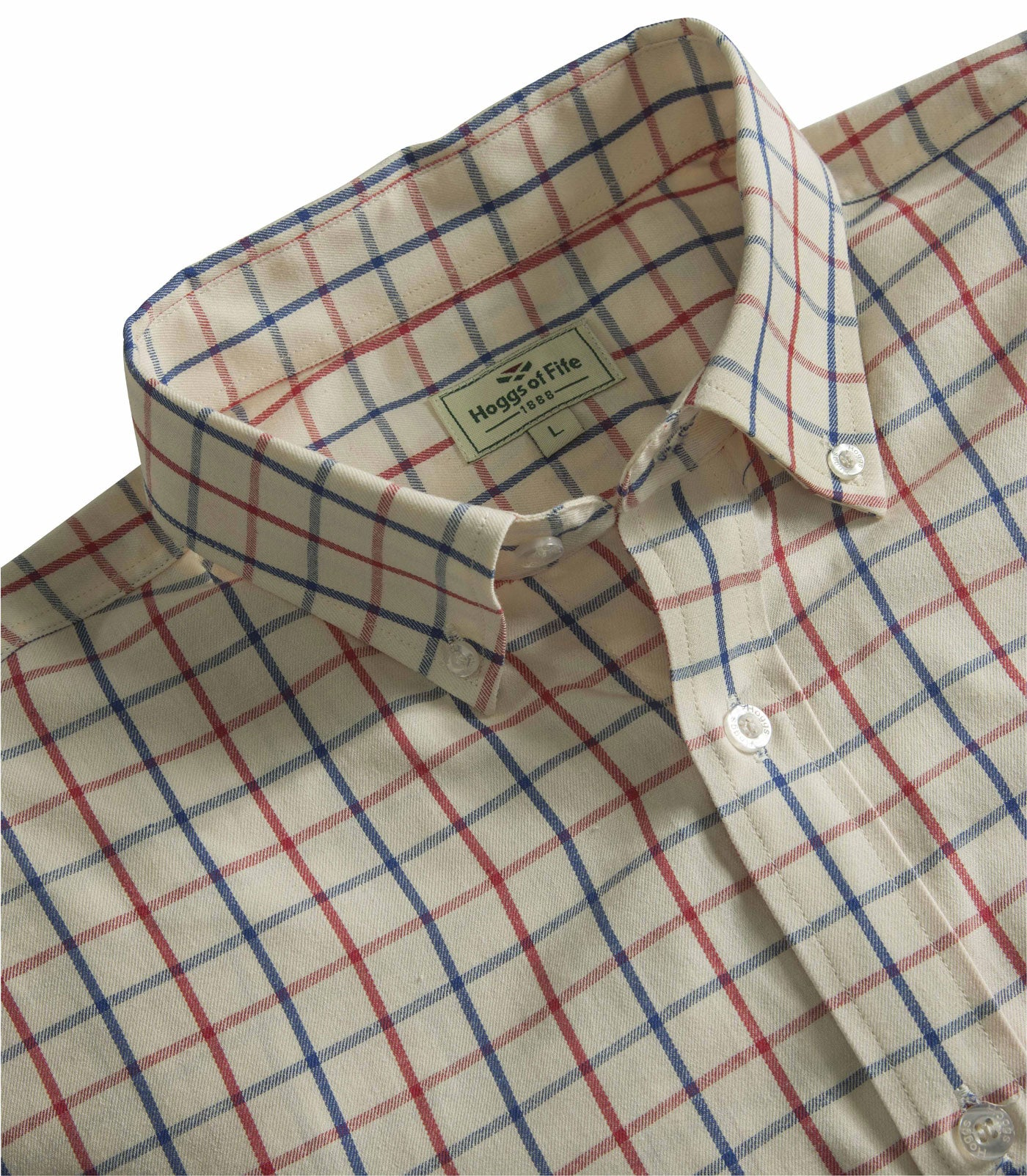 navy and red Hoggs Sunningdale Short Sleeve Tattersall Shirt