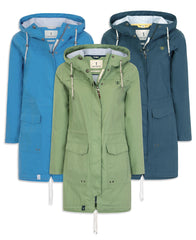 Lighthouse Paige Parka Waterproof Jacket in Navy midnight, pistachio green and Blue sail