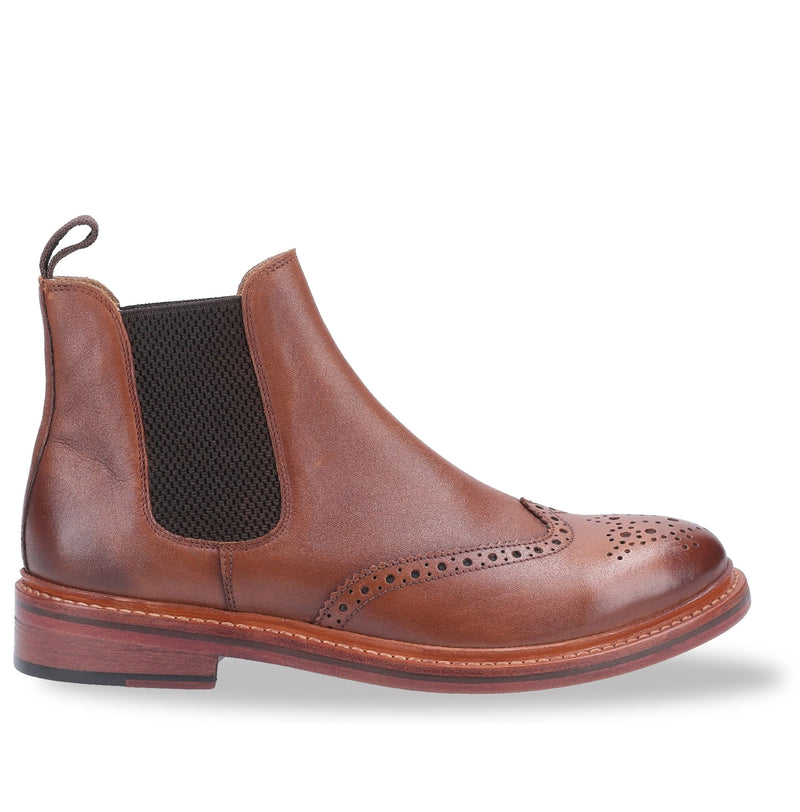 Rich Tan Cotswold All Leather Goodyear Welt Brogue Market Boot