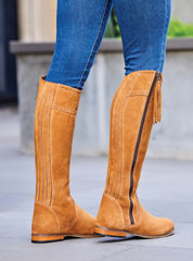 Shaped suede high boots in golden tan stone