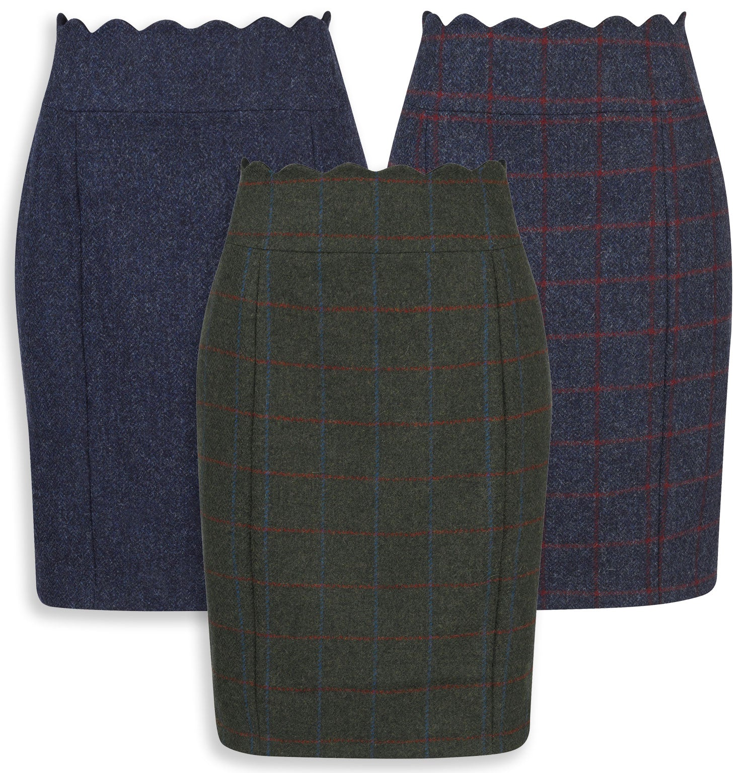 Jack Murphy Taylor Tweed Skirt Navy Herringbone, Green Herringbone Check and Navy Herringbone Check