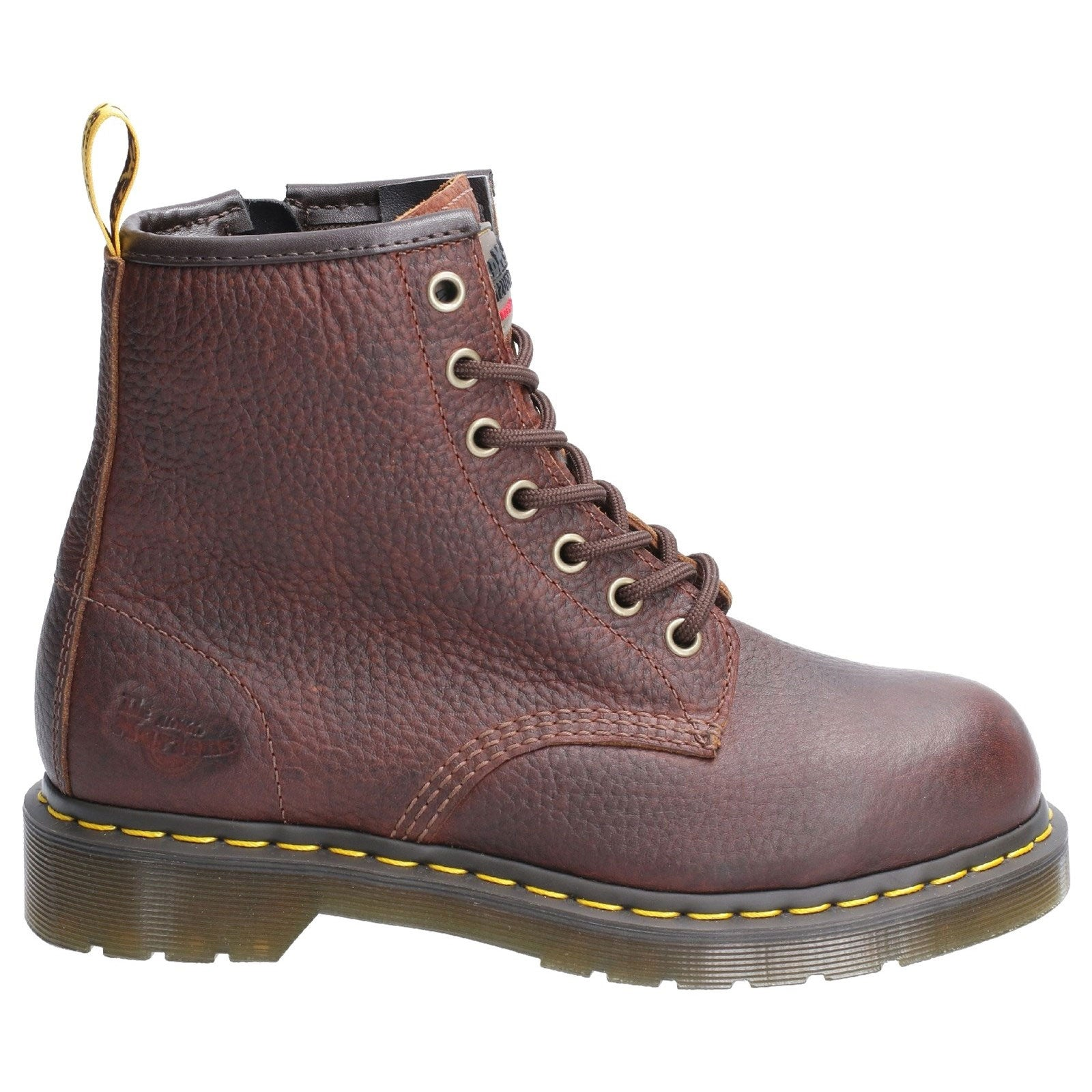 Teak industrial Bear Brown grained Leather Doc Martens Maple Zip Steel Toe Ladies Work Boot