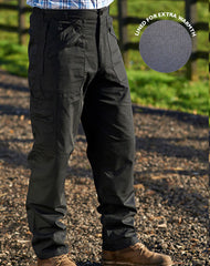 Champion action trousers with lots of zipped pockets for travel security in black