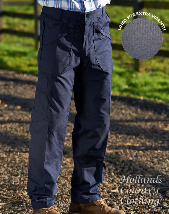 Champion action trousers with lots of zipped pockets for travel security in navy
