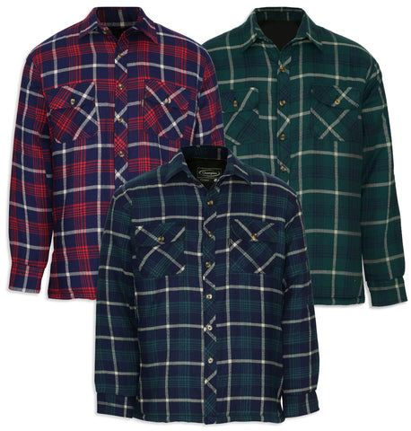 winter tartan padded quilted work shirt red blue and green
