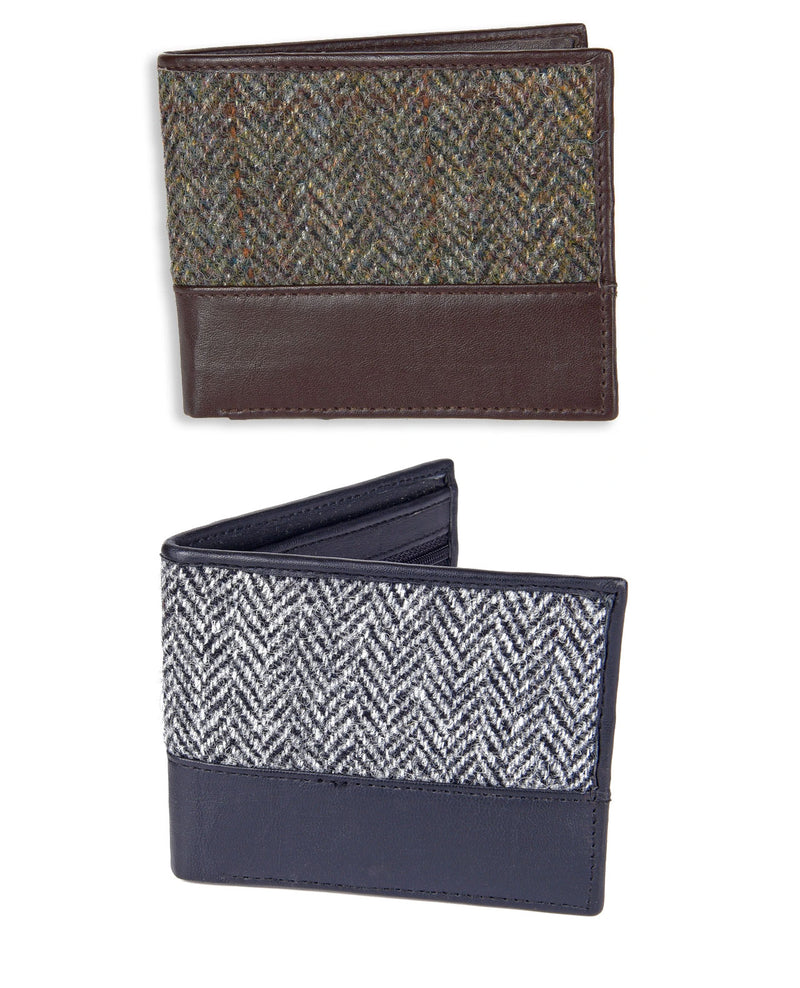 Heather Callum Harris Tweed Wallet | Black / Grey Herringbone, Green Brown herringbone