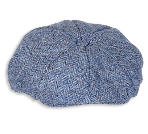 Heather Arran 8-Piece Harris Tweed Cap | Denim Herringbone