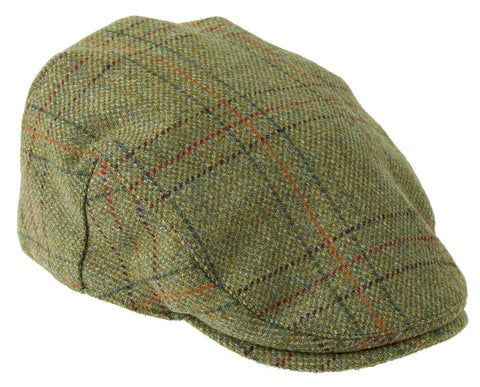 Waterproof Tweed Cap in Light Olive with Check Pattern
