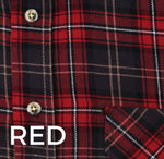 Red black and white tartan check plaid