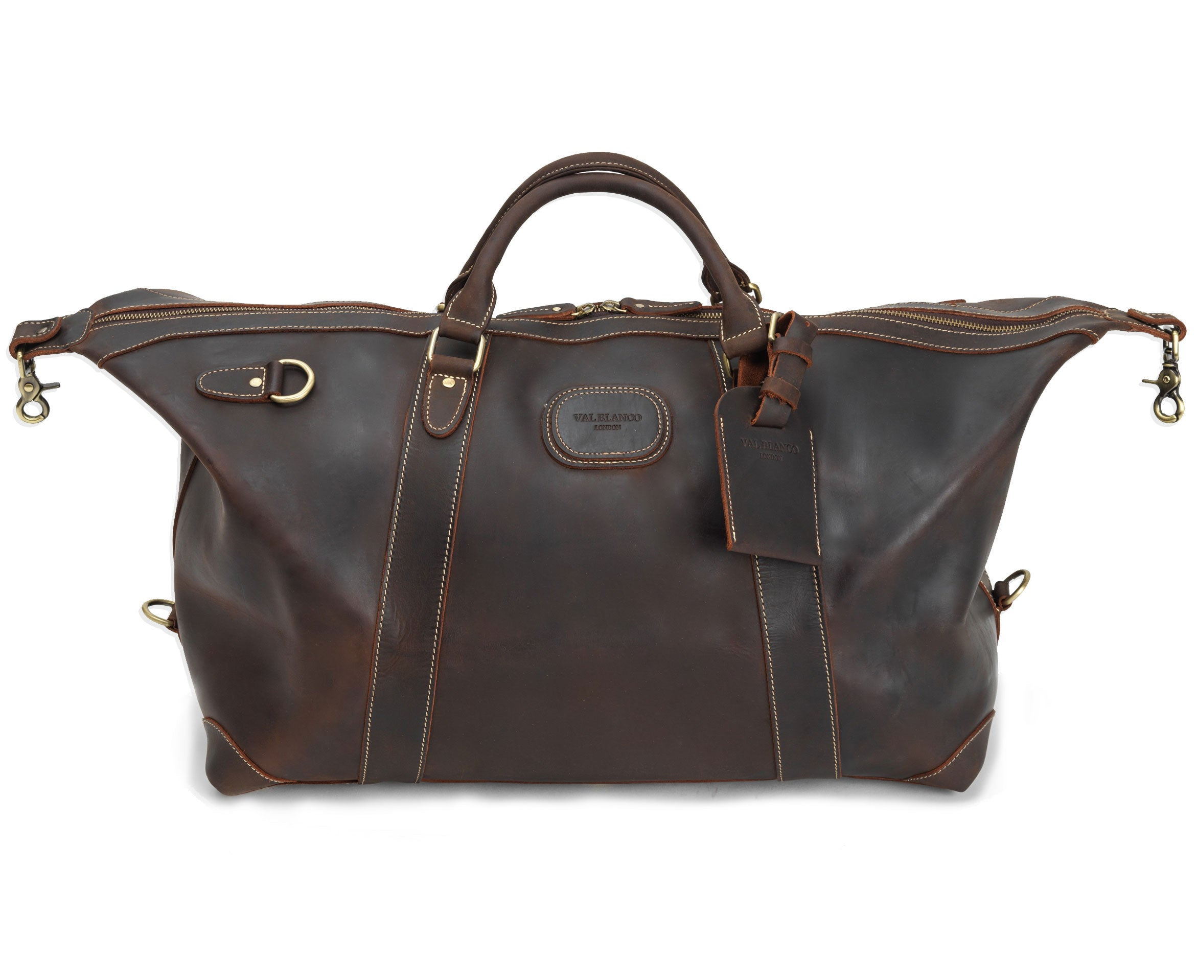 strap removed The Alexander Ultra Soft Leather Holdall by Val Blanco