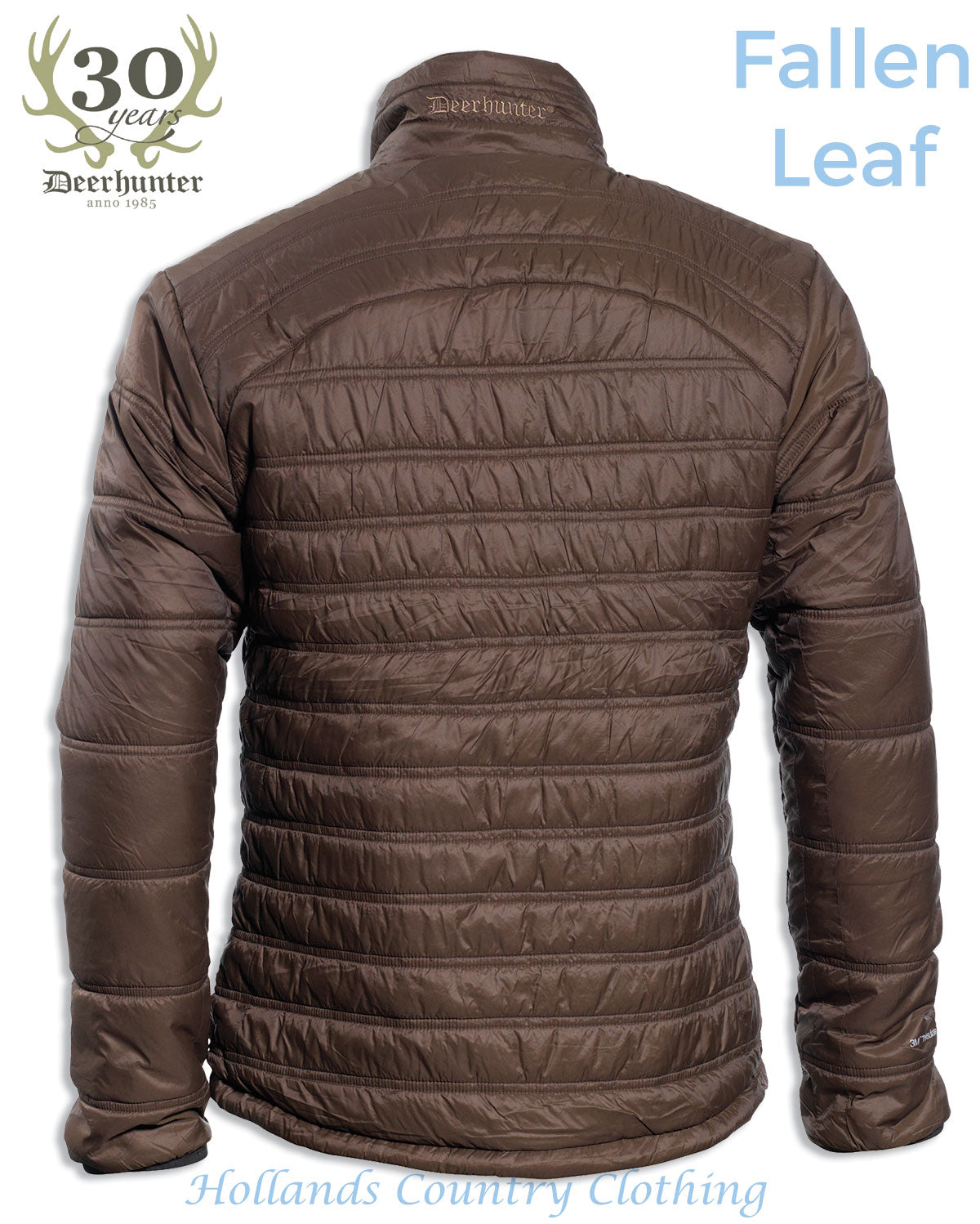 back view Deerhunter Verdun Quilted hunting insulation  in fallen leaf - brown