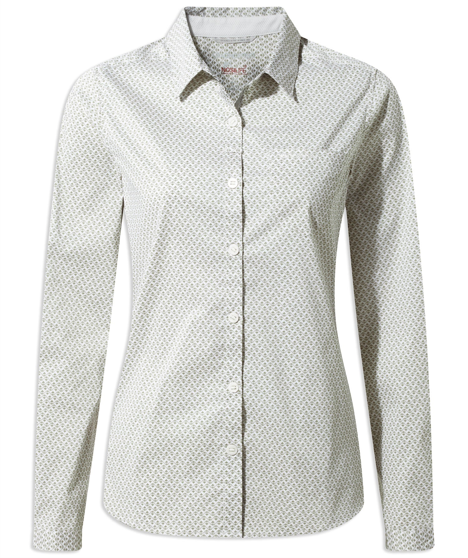 Bush Green Craghoppers NosiLife Verona Long Sleeve Shirt