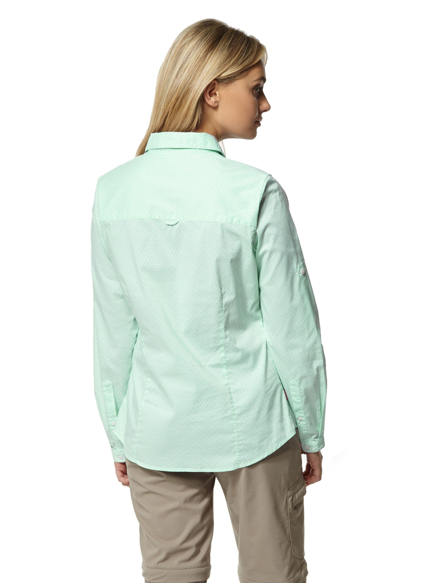 Back view lady wearing Craghoppers NosiLife Verona Long Sleeve Shirt#