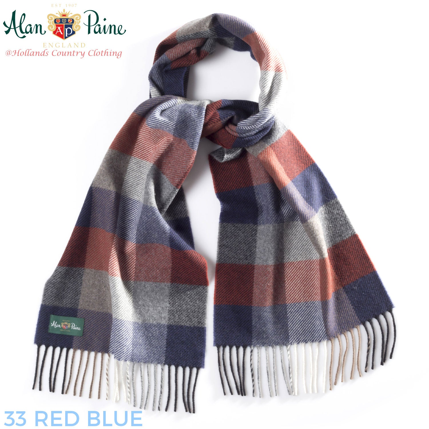 red blue Alan Paine Multi-Colour Check Scarf