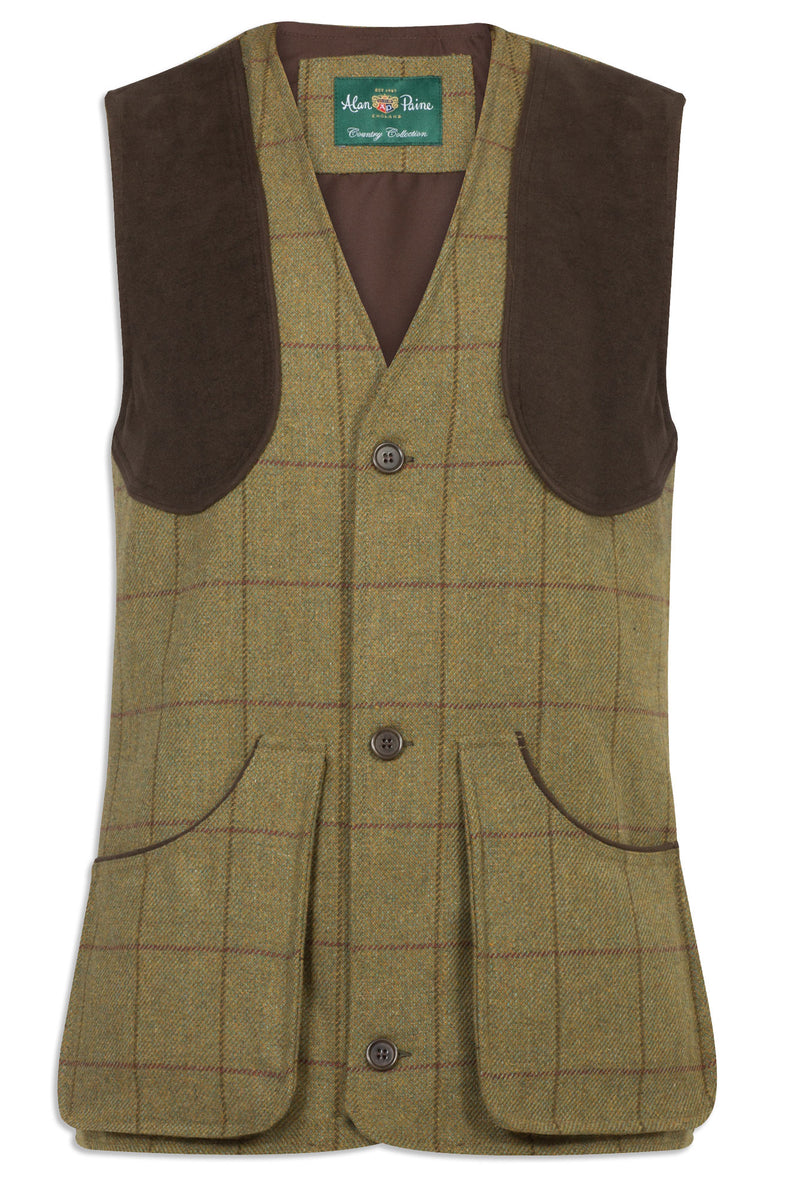 finest tweed shooting gilet Alan Paine Rutland Tweed Waistcoat | Lichen