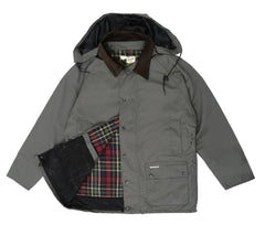 Shown above open to reveal plaid lining and internal mesh pocket
