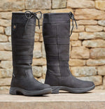 Black leather ladies high leg country boot s