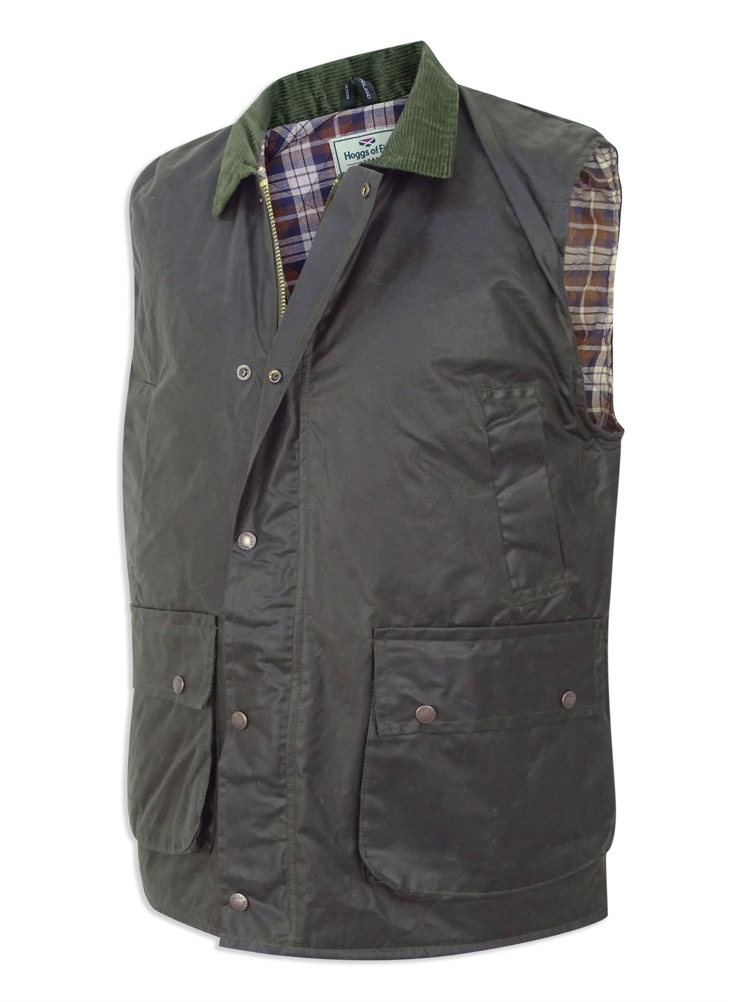 Side view Waxed Cotton Gilet by Hoggs of Fife