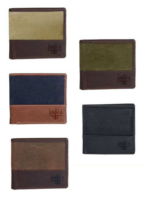 British Bag Co. Wax Canvas Wallet with leather  | Green, Blue, Black, Khaki