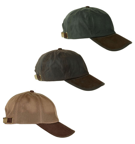Leather Peak Waxed Cotton Baseball Cap | Brown, Olive, Tan