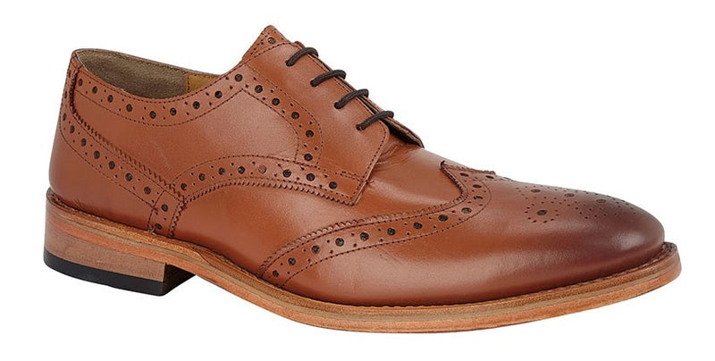 Kensington All Leather Wing Cap Gibson Brogue Shoe