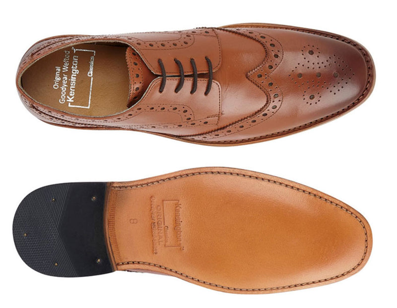 Kensington Country Brogue Shoe All Leather - showing leather sole and brogue upper