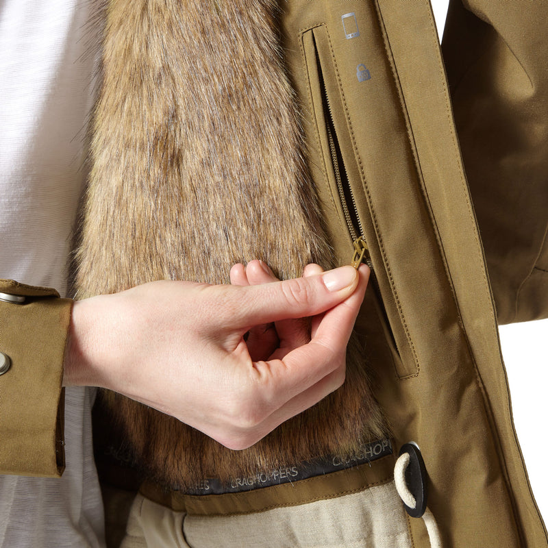 Fur lined with internal pocket