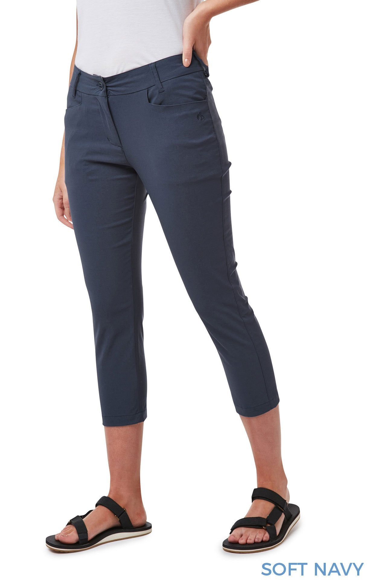 Soft Navy Ladies Clara NosiLife Crop Pants by Craghoppers