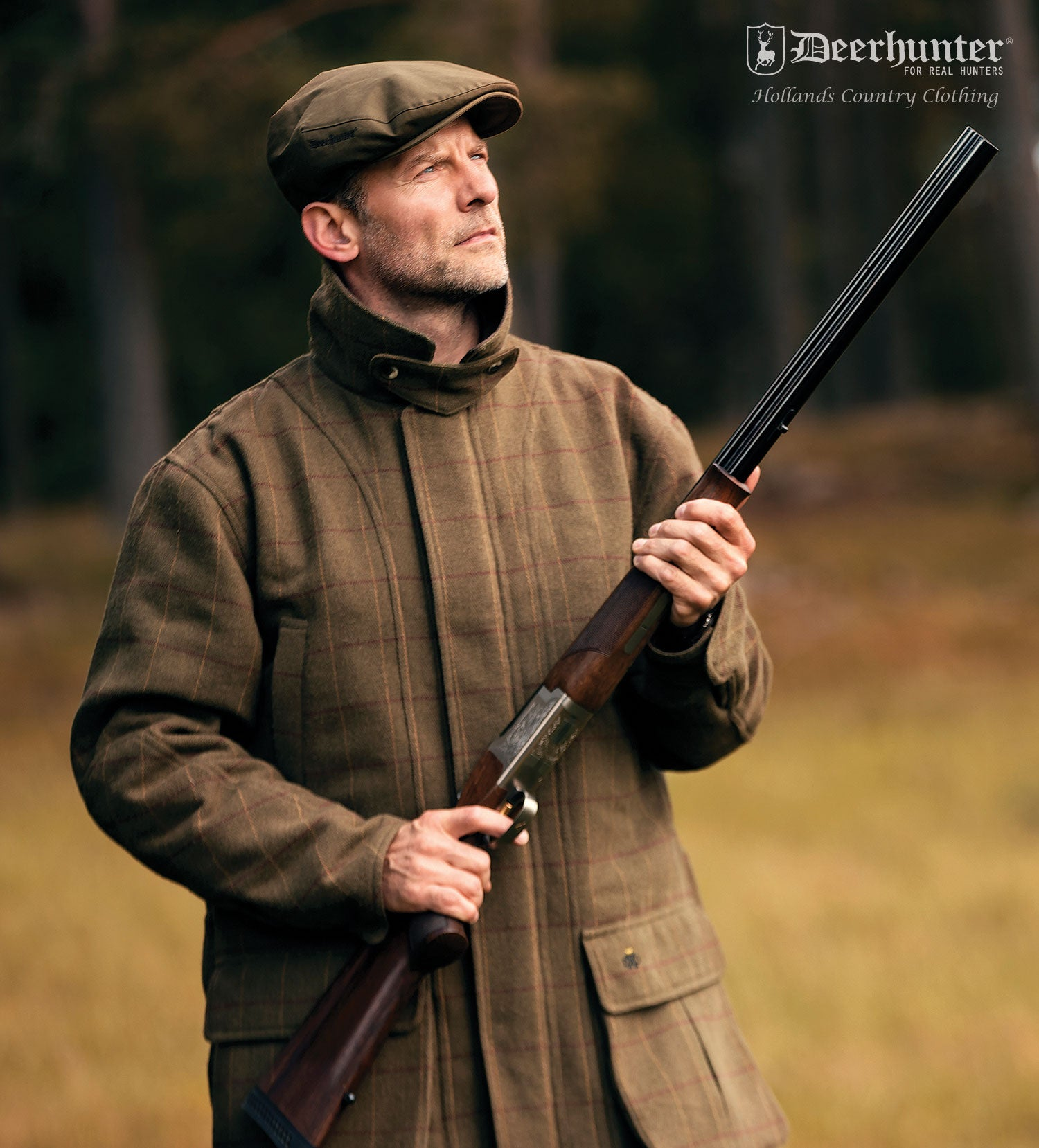Deerhunter Woodland Mosstone Tweed Shooting Jacket is a classic tweed game shooting style