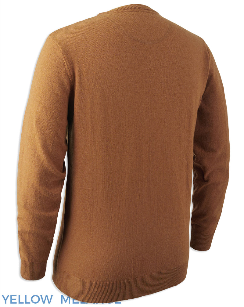 Deerhunter Brighton Knitted Crew-neck Sweater rear view Mellow Yellow