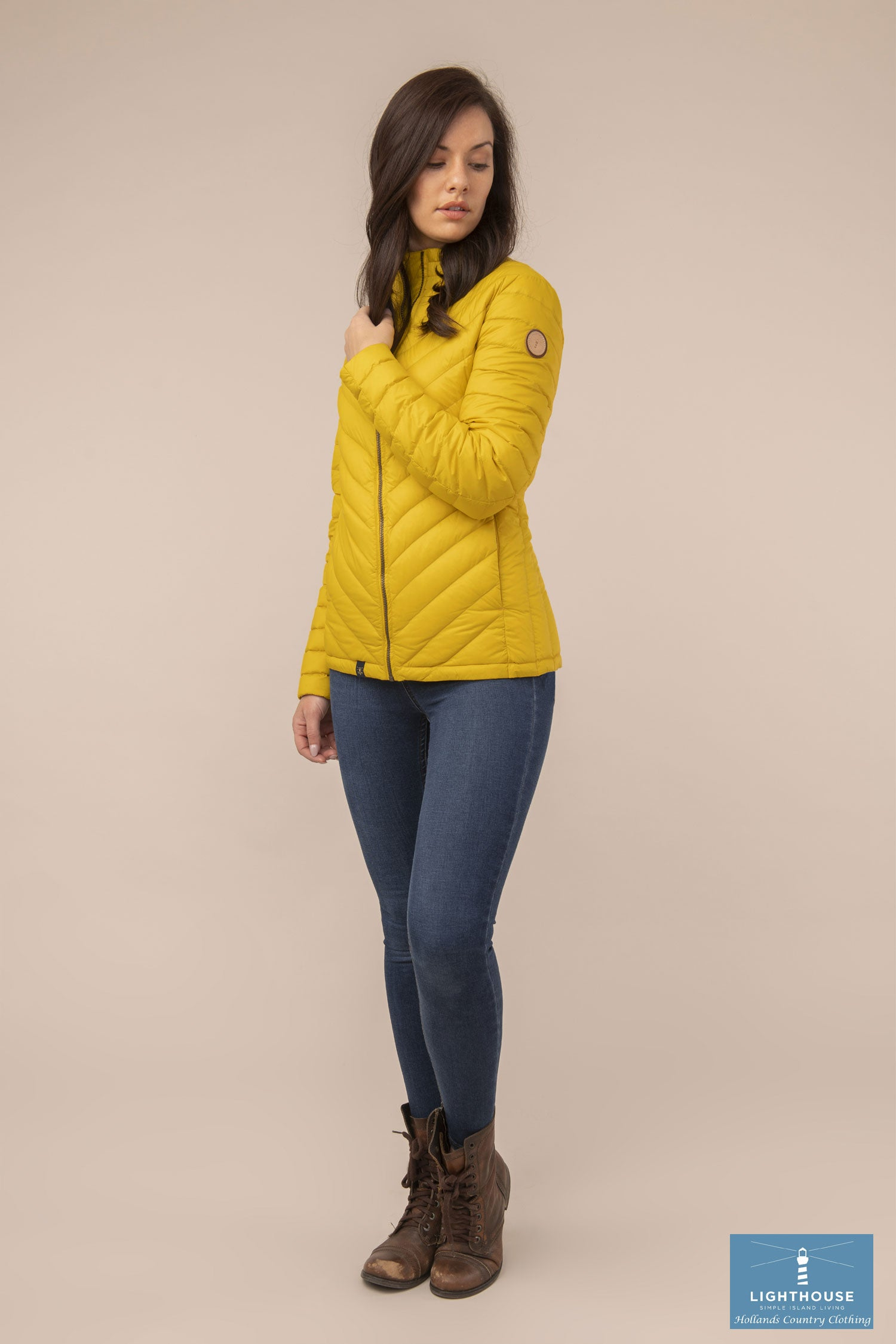 full length view Ladies Lighthouse Lara Down Jacket Sunrise Yellow