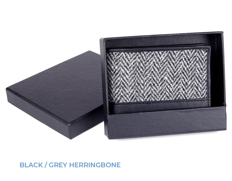 Heather Tweed wallet with black leather trim