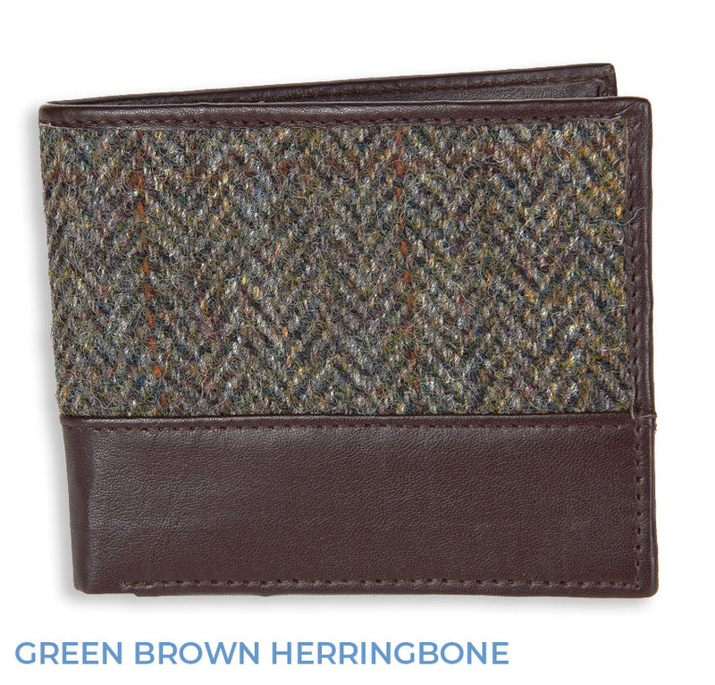 Green Brown herringboneHeather Callum Harris Tweed Wallet