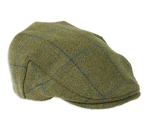 Fox Derby Tweed Flat Cap Blue Stripe