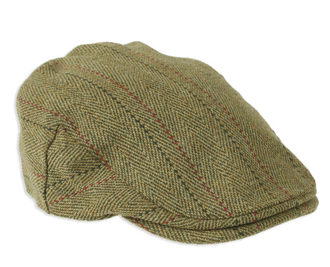 Derby Tweed Cap with Red Stripe by Heather Hats
