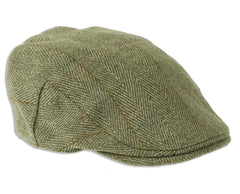 Fox Derby Tweed Cap Green with Gold Stripe and crossing pale Red Stripe