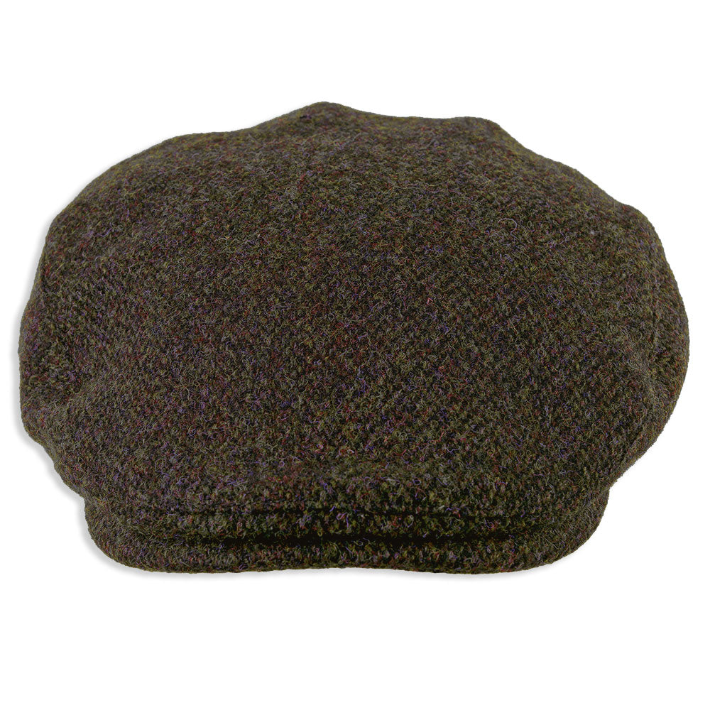 brown tweed flat cap in harris tweed
