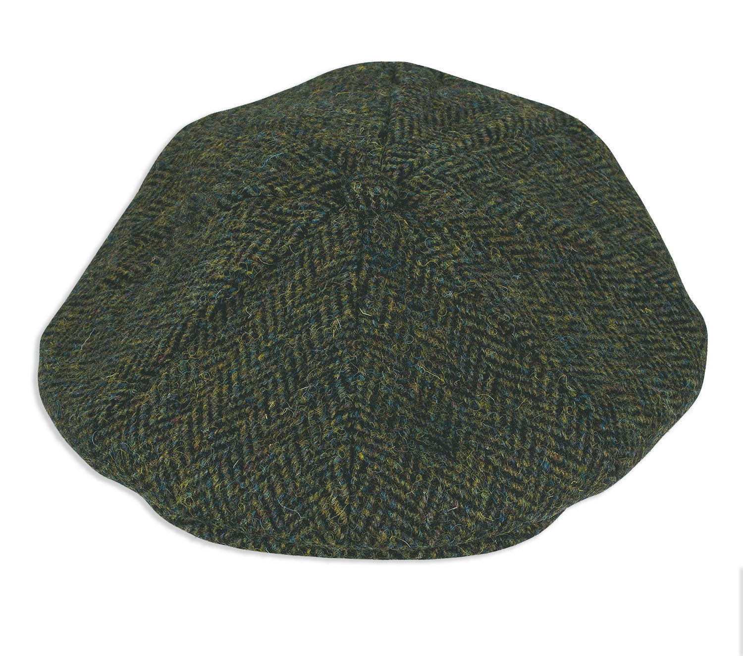 A traditionally styled 8 panelled tweed cap with a central button