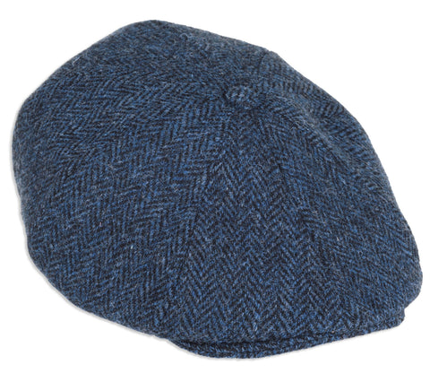 Heather Arran 8-Piece Harris Tweed Cap | Blue Black Herringbone