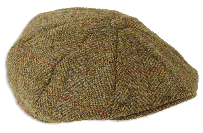 Heather Arran 8-Piece Harris Tweed Cap | Olive/Gold